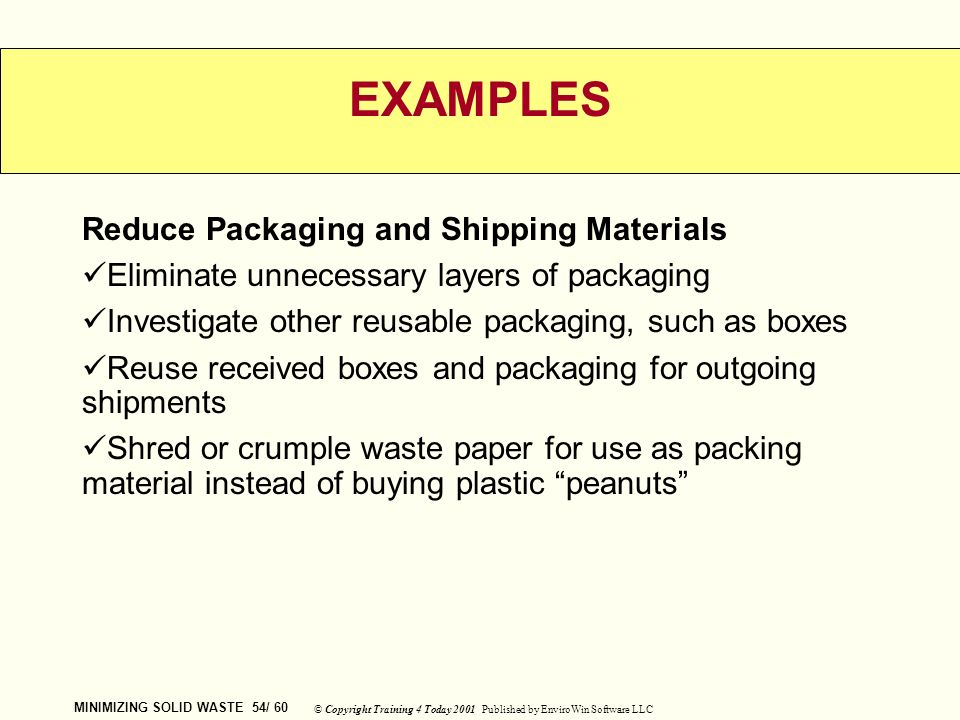 MINIMIZING SOLID WASTE CUSTOMIZED ENVIRONMENTAL - ppt download