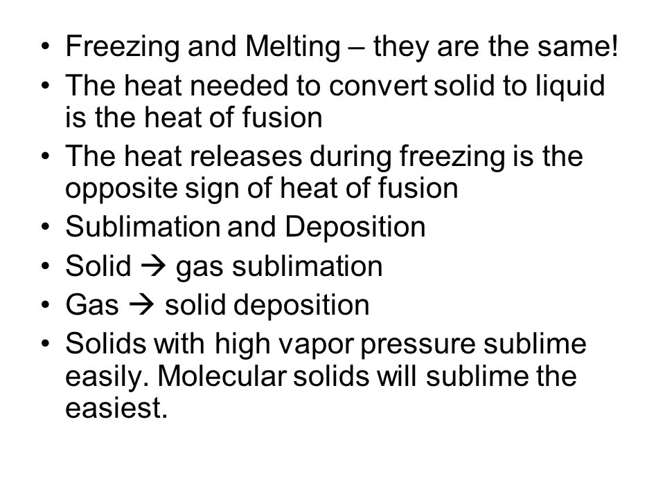 Freezing and Melting – they are the same!