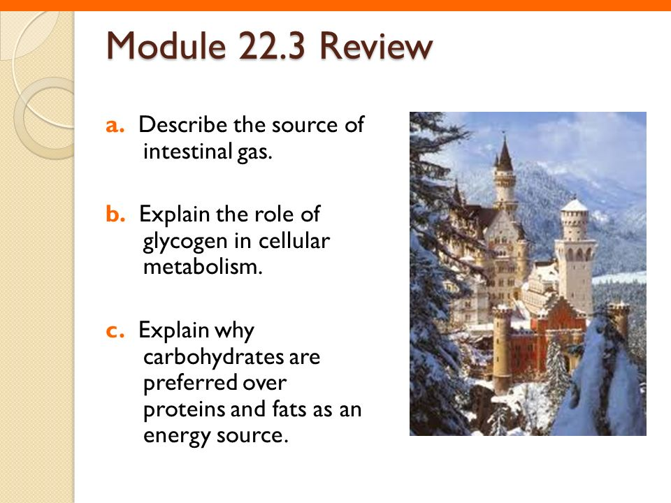 Module 22.3 Review a. Describe the source of intestinal gas.