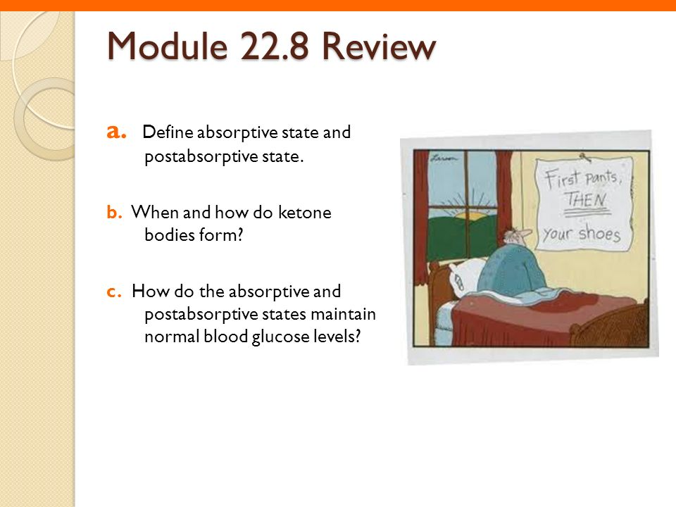 Module 22.8 Review a. Define absorptive state and postabsorptive state. b. When and how do ketone bodies form