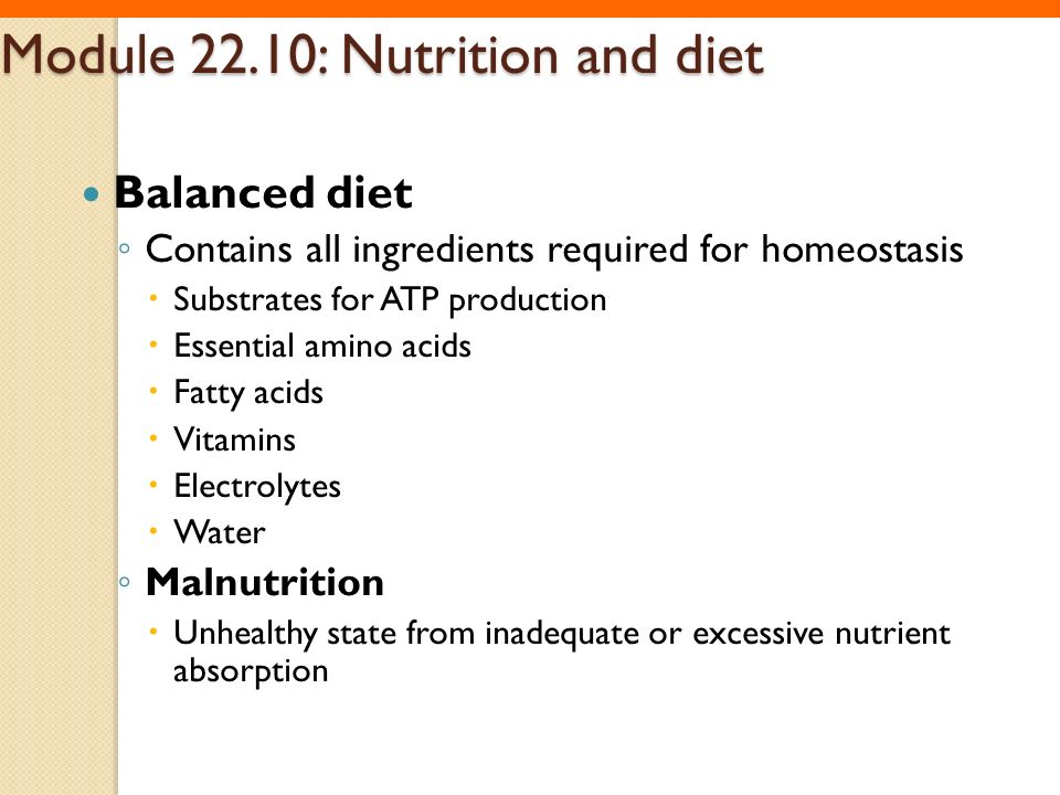 Module 22.10: Nutrition and diet