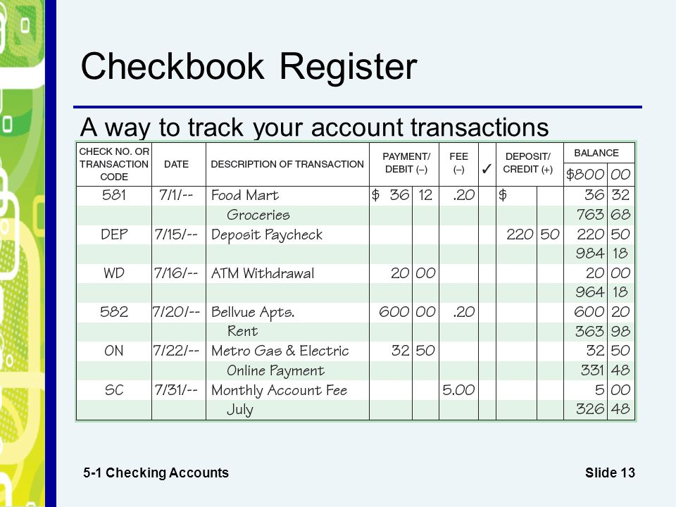 online checkbook registers