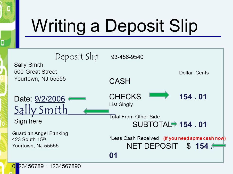 how to write a deposit slip Slip generally means a small piece of paper, that is typically used as a form for writing on or one that gives printed information slips are used exhaustively by all companies in addition.