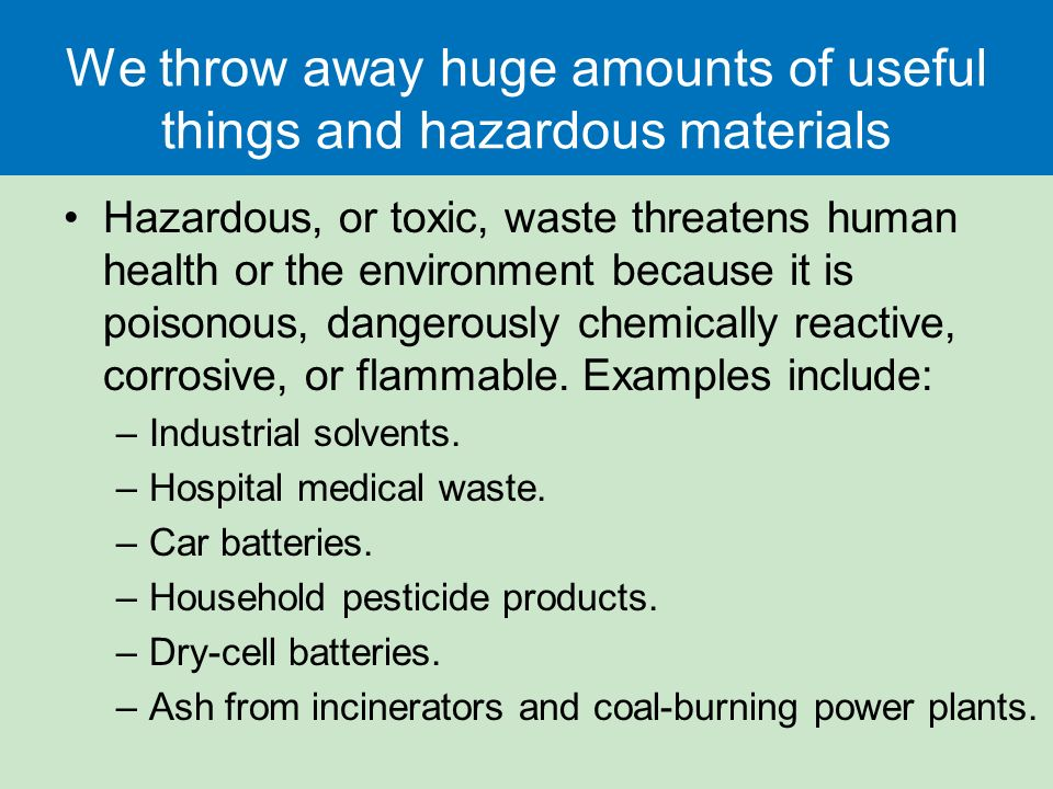 Solid and hazardous waste ppt video online download for Waste material for useful things