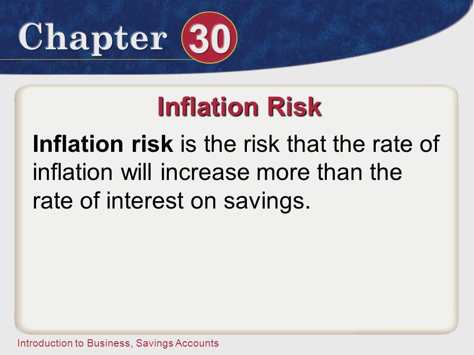 Inflation Risk Inflation risk is the risk that the rate of inflation will increase more than the rate of interest on savings.
