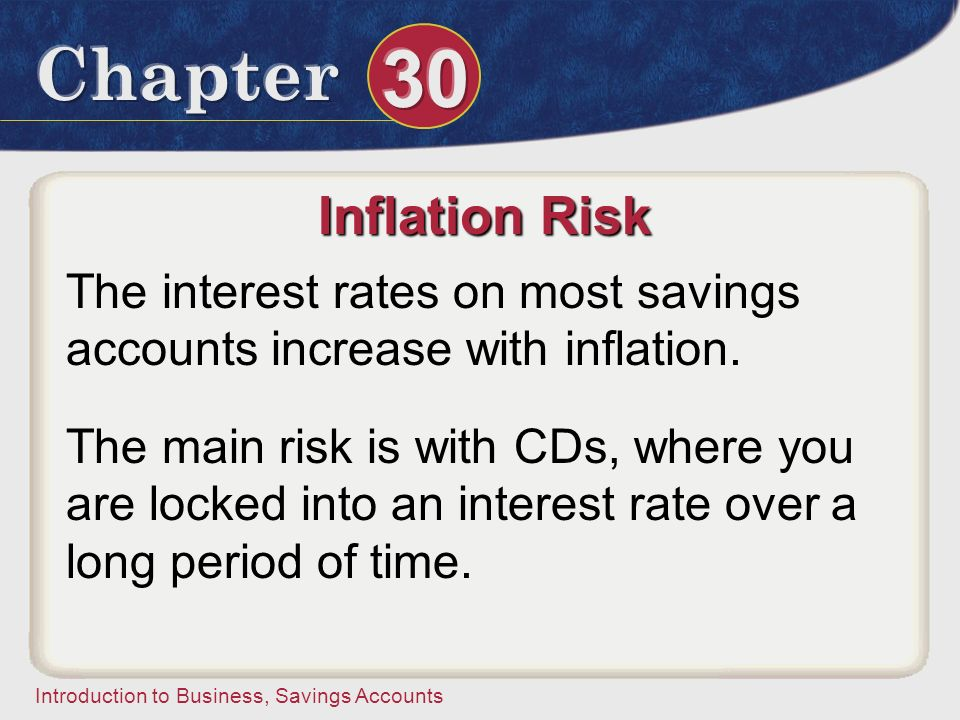 Inflation Risk The interest rates on most savings accounts increase with inflation.