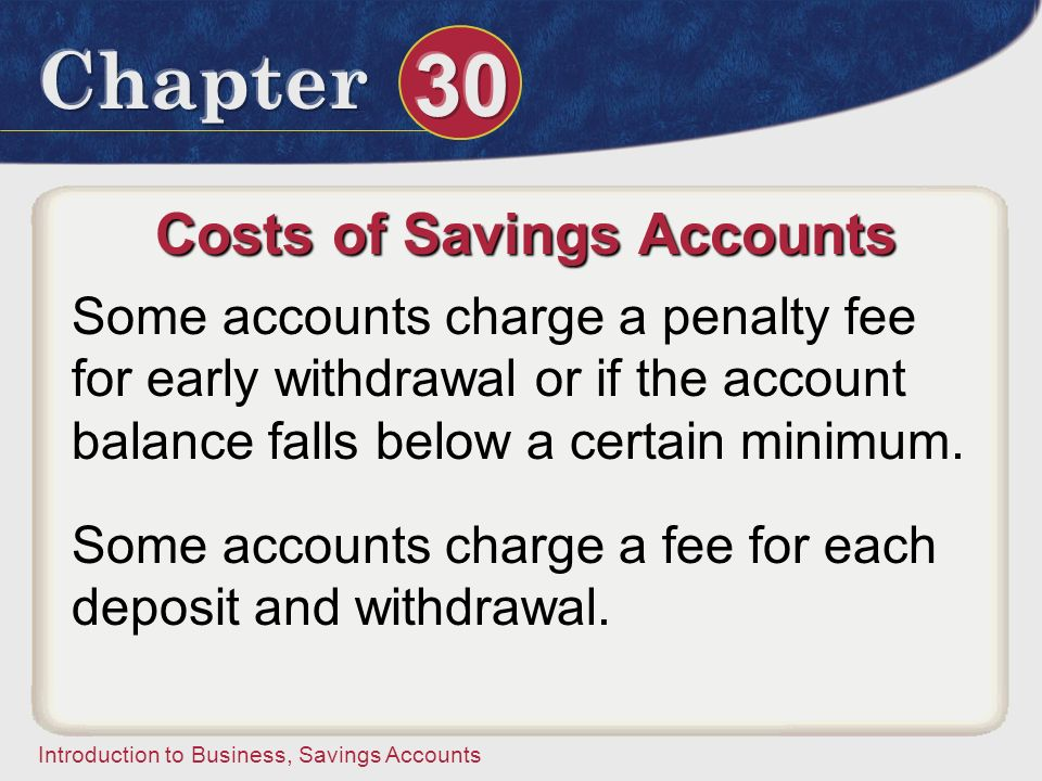 Costs of Savings Accounts