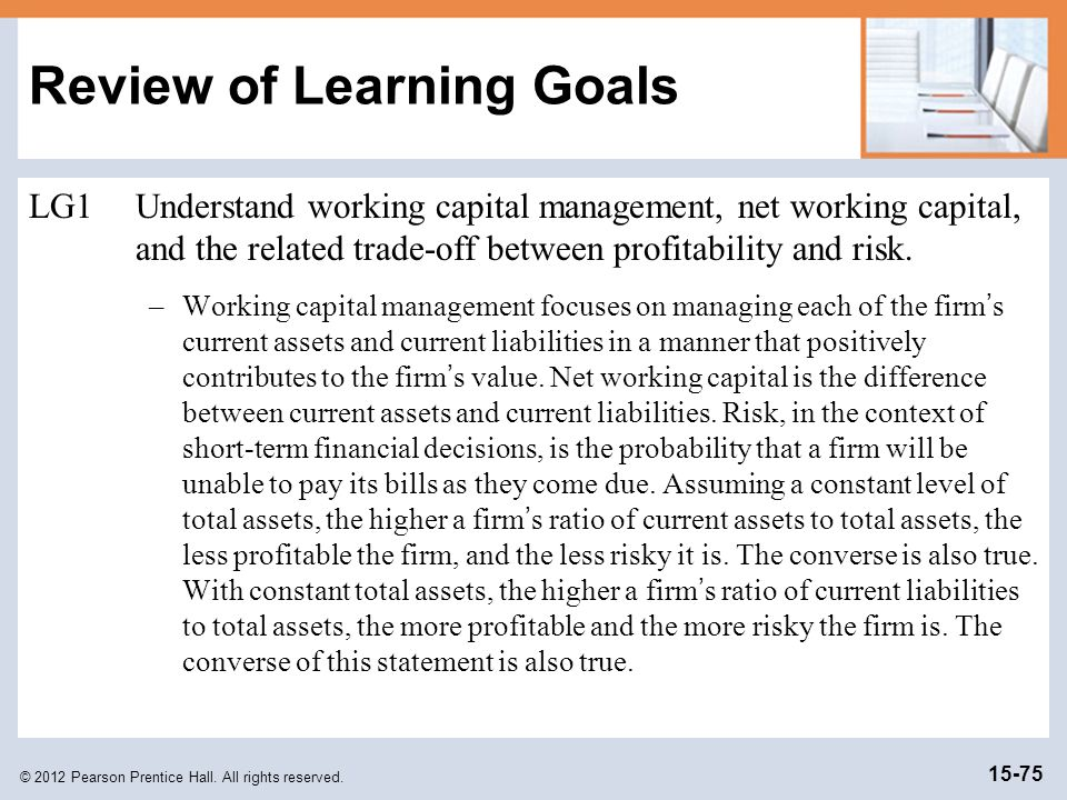 review of working capital management by eljelly 2004 Evaluating the impact of working capital management working capital management components and the profitability (eljelly, 2004)efficient management of.