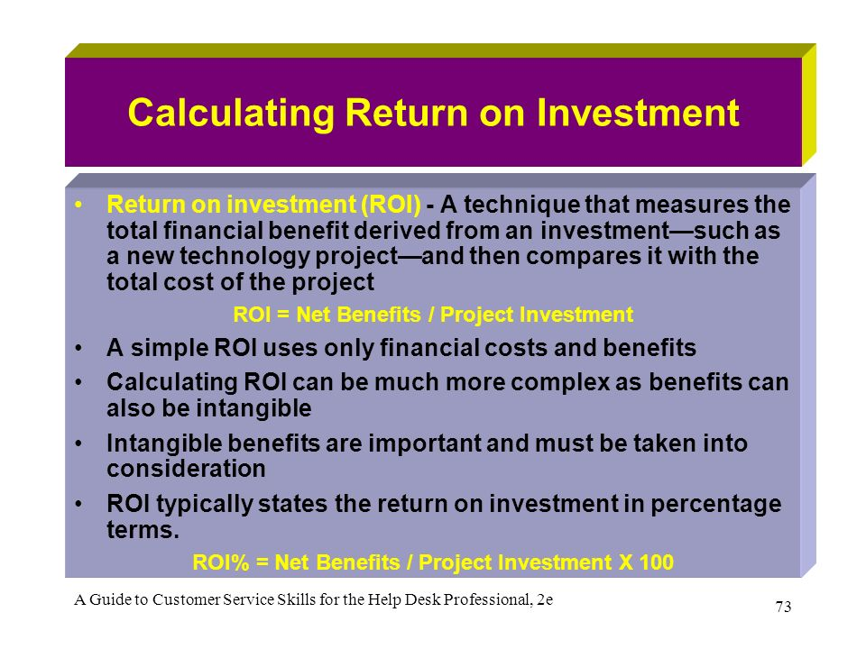 how to calculate total percentage return on investment
