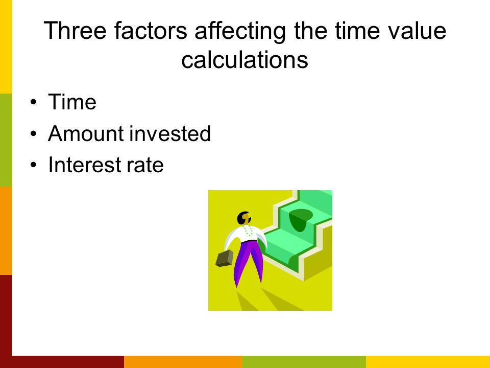 factors that affect the time value The amount of time food is stored before you eat it and the conditions in which it is stored affect its quality produce is especially vulnerable to long storage times generally, the longer the time between when the produce is harvested and when you eat it the lower its nutritional value.