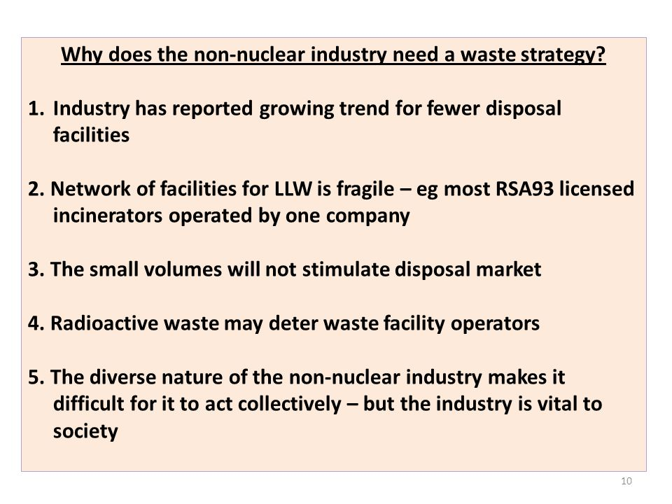 Why does the non-nuclear industry need a waste strategy