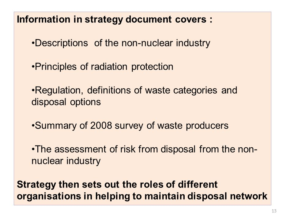 Information in strategy document covers :