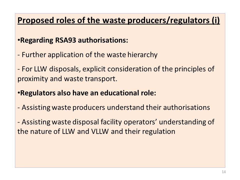 Proposed roles of the waste producers/regulators (i)