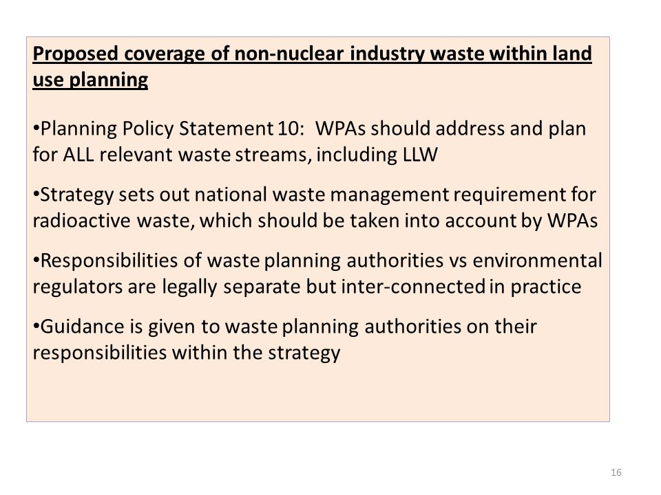 Proposed coverage of non-nuclear industry waste within land use planning