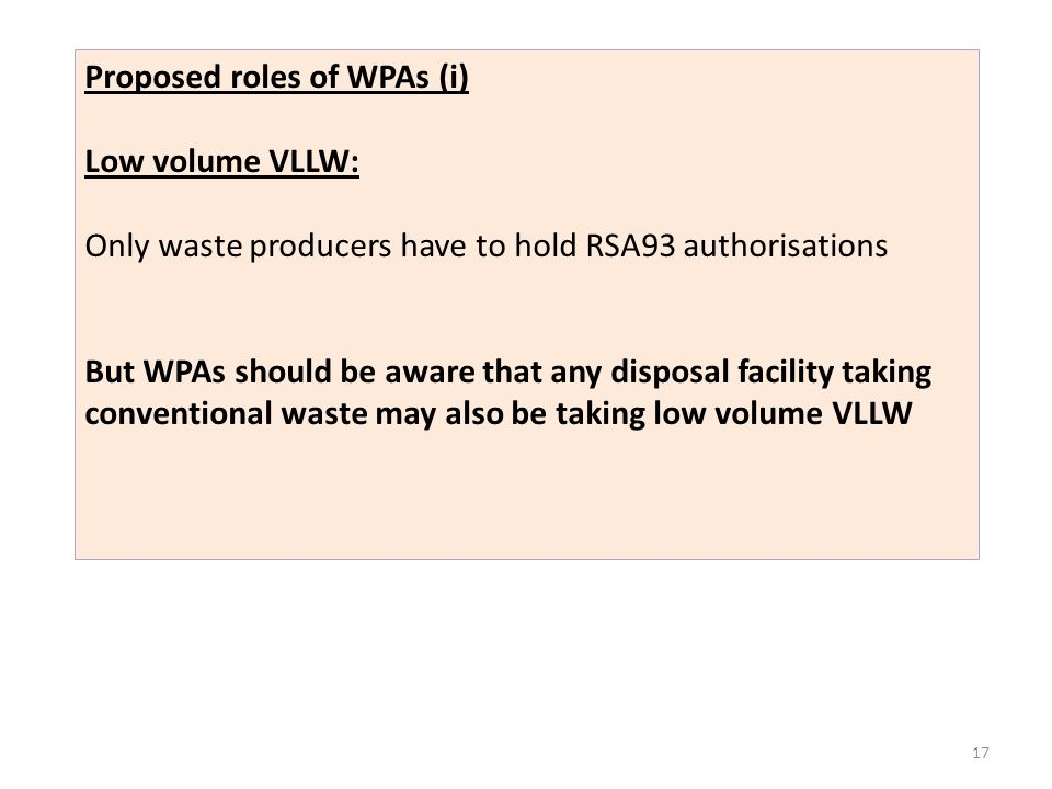 Proposed roles of WPAs (i) Low volume VLLW: