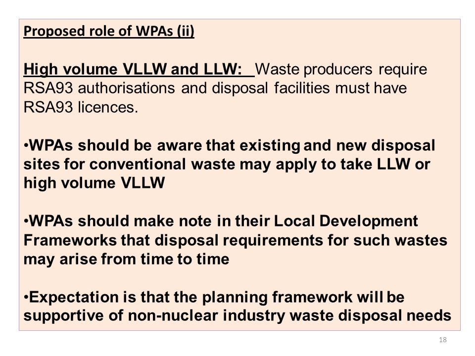 Proposed role of WPAs (ii)
