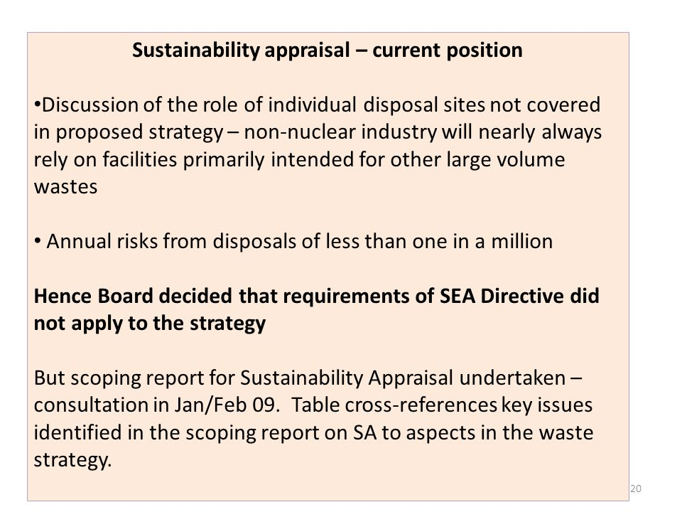 Sustainability appraisal – current position