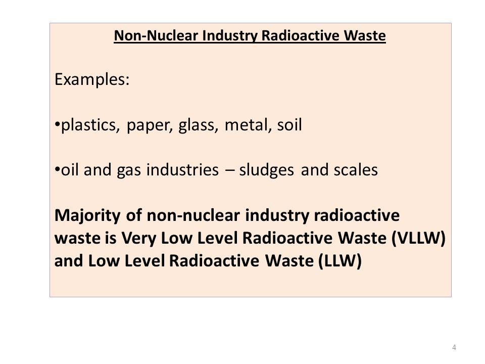 Non-Nuclear Industry Radioactive Waste