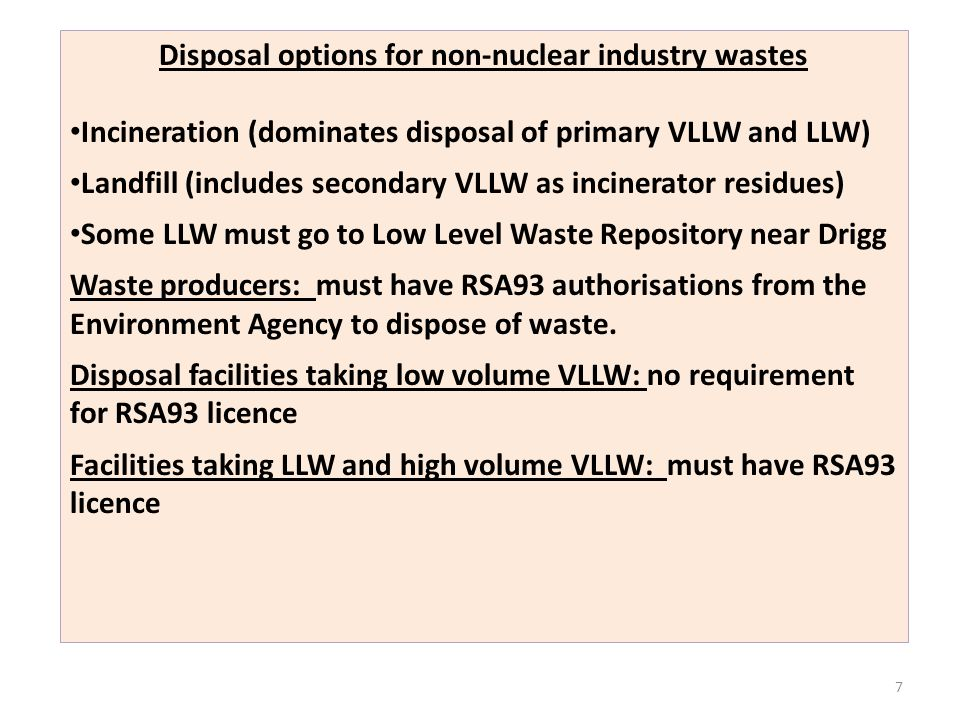 Disposal options for non-nuclear industry wastes