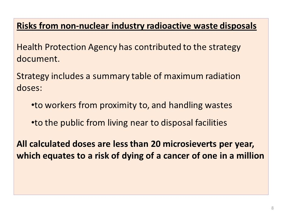 Risks from non-nuclear industry radioactive waste disposals