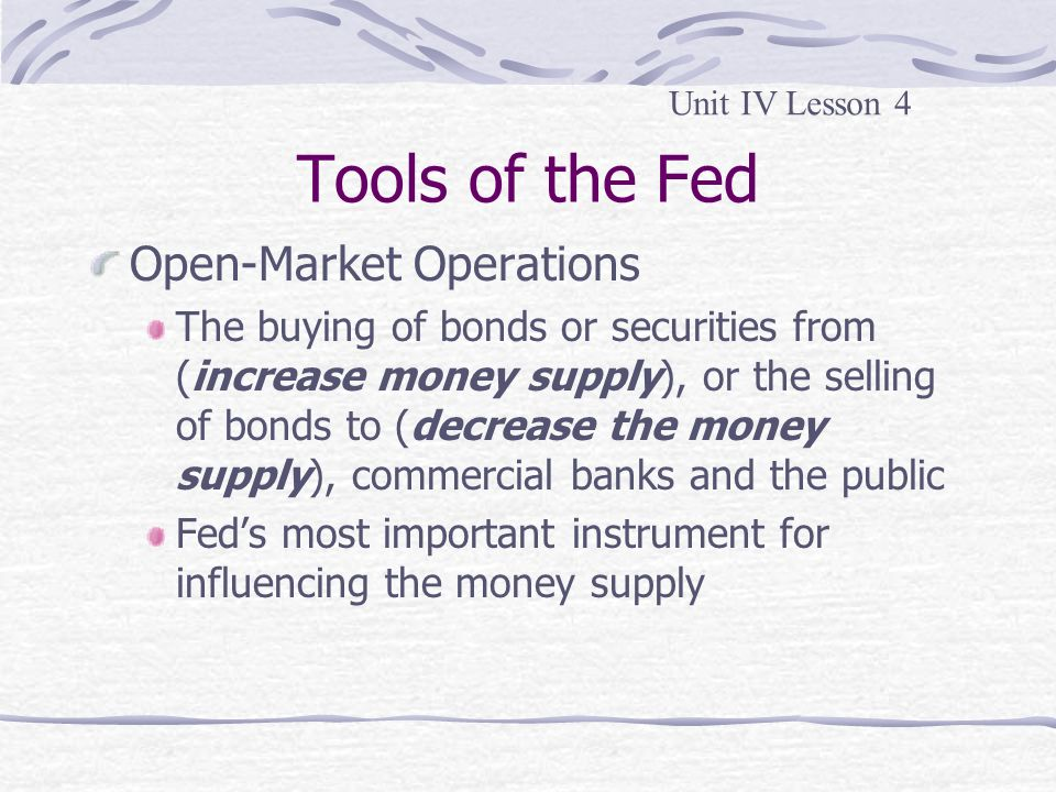 Tools of the Fed Open-Market Operations