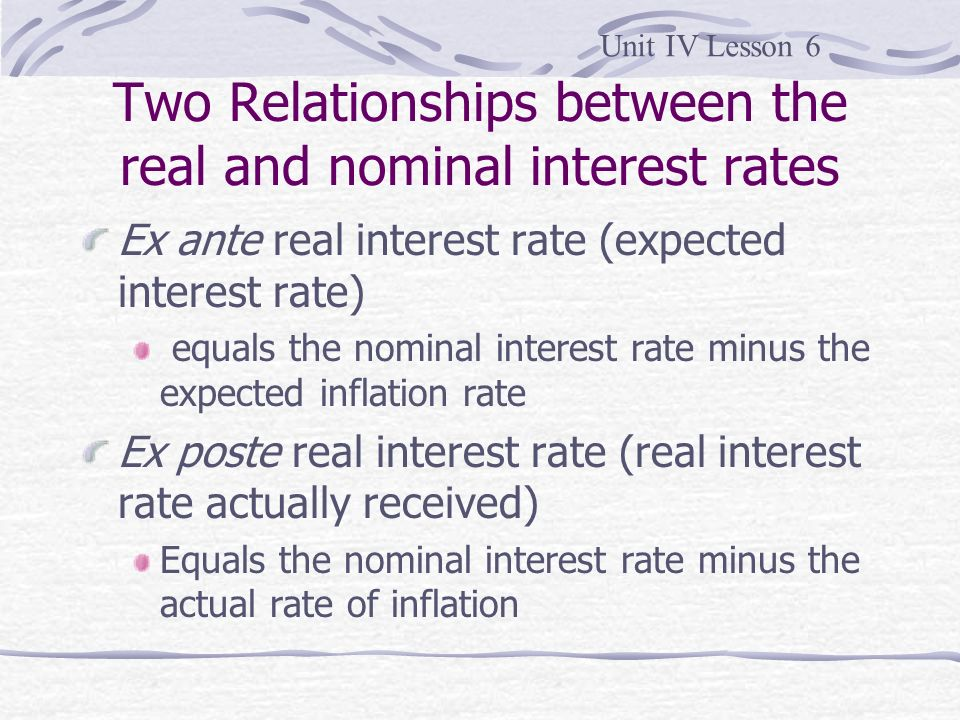 Two Relationships between the real and nominal interest rates
