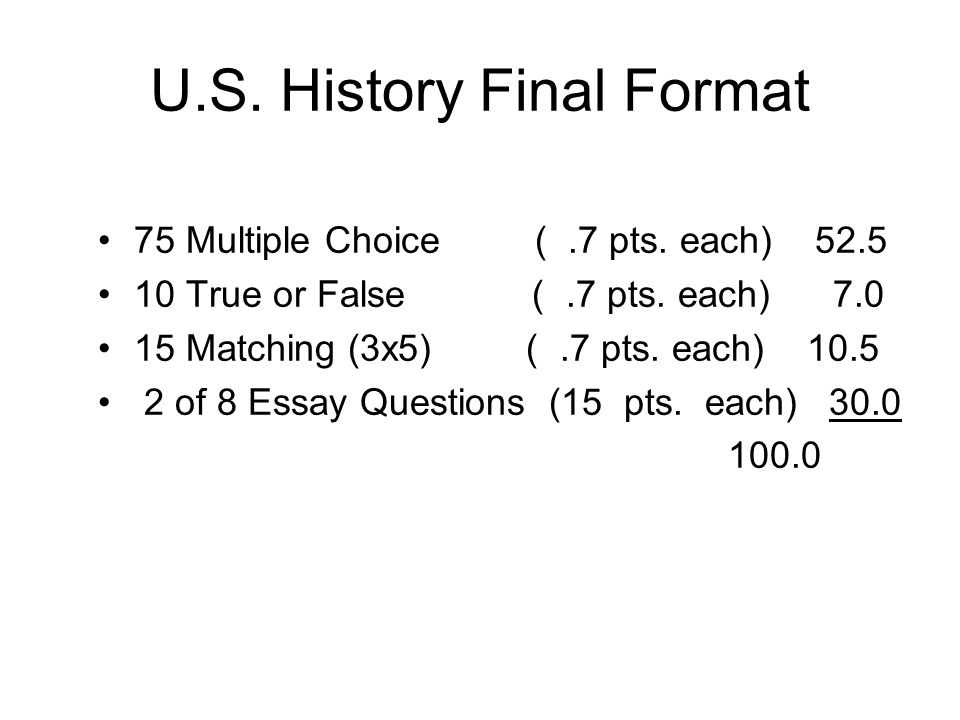 history final part 7 essay Ap world history course framework 7 overview w the long essay question choices will continue to focus on the same theme and ap exams are an essential part of.