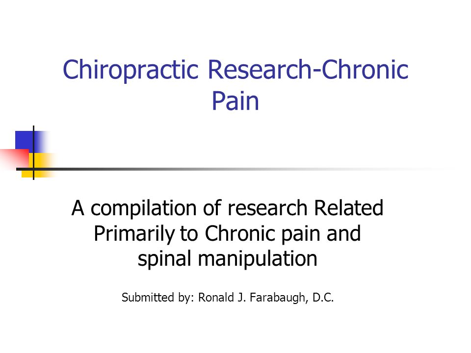Chiropractic Research-Chronic Pain