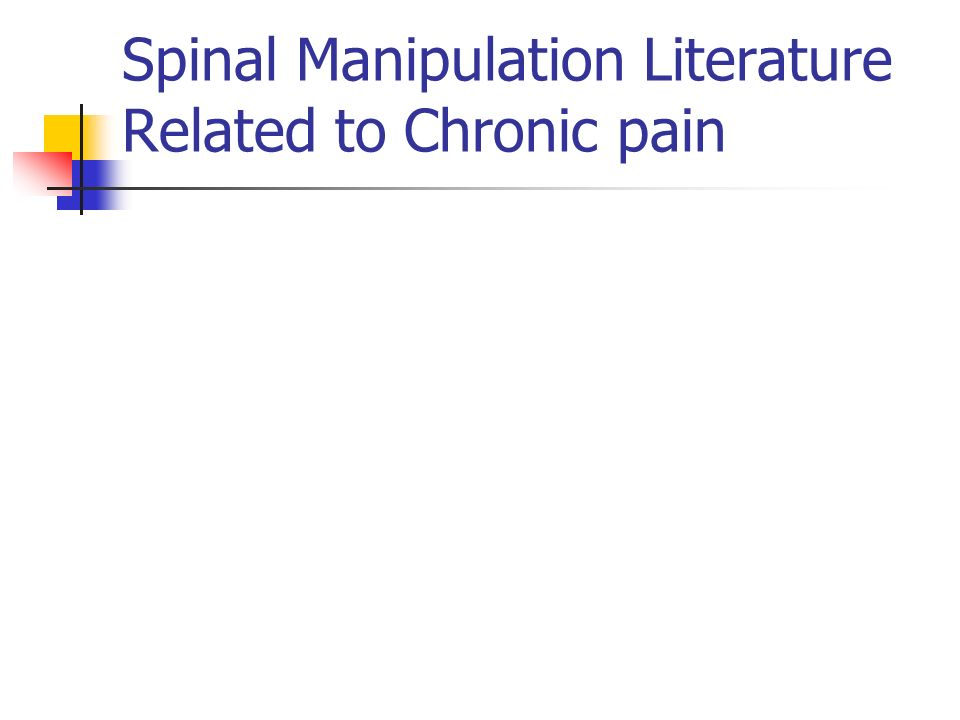 15 Spinal Manipulation Literature Related to Chronic pain