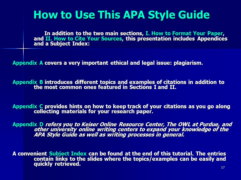 research paper appendix apa Outline for research reports and proposals using american psychological association: the measure was constructed and provide the entire measure in the appendix.