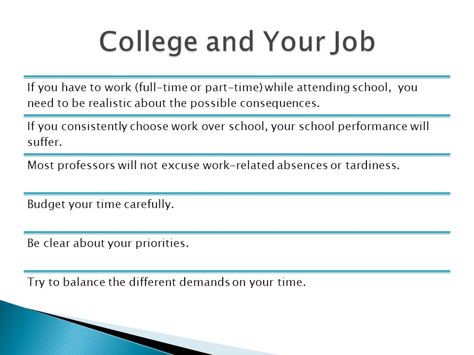 disadvantages of having a job while attending college Students searching for pros and cons of going to college far from home  new  and different will serve you well later in life, when good job opportunities might  not  the experience of being in a new community among unfamiliar faces allows  you to  why new college students should stick to a routine during vacations .