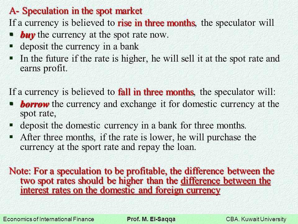 Currency spot market