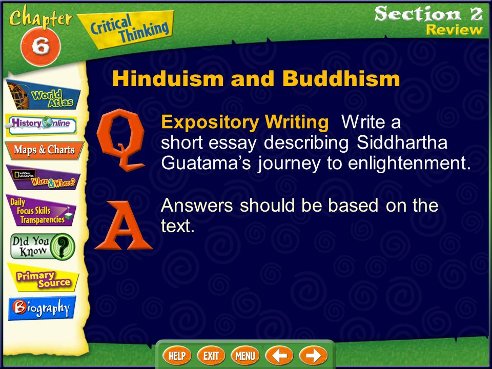 click on a hyperlink to view the corresponding slides ppt  hinduism and buddhism expository writing write a short essay describing siddhartha guatama s journey to enlightenment