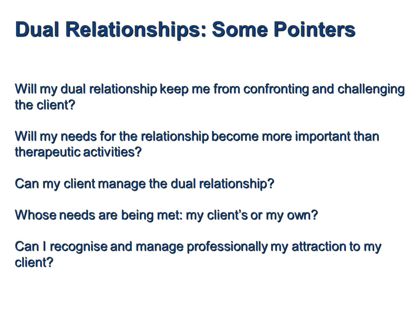what is a dual relationship in counselling