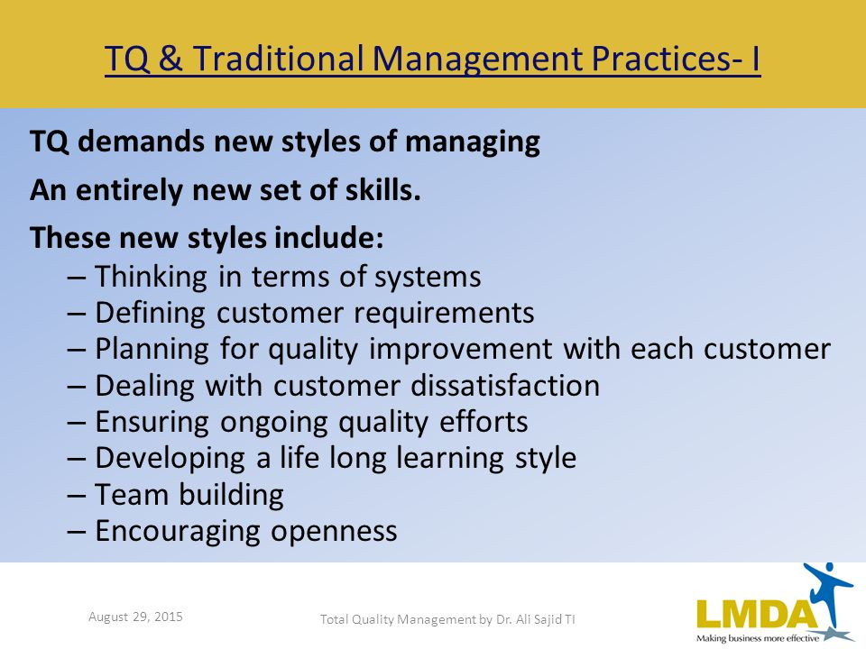 Management styles and practices