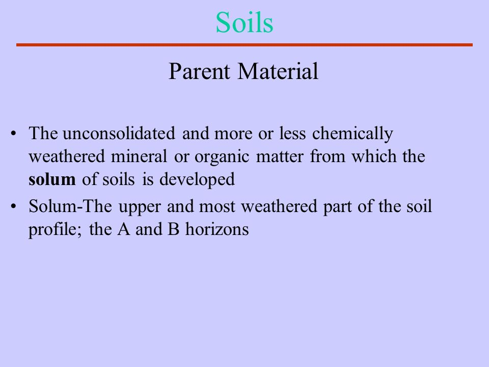 Soils Parent Material. The unconsolidated and more or less chemically weathered mineral or organic matter from which the solum of soils is developed.