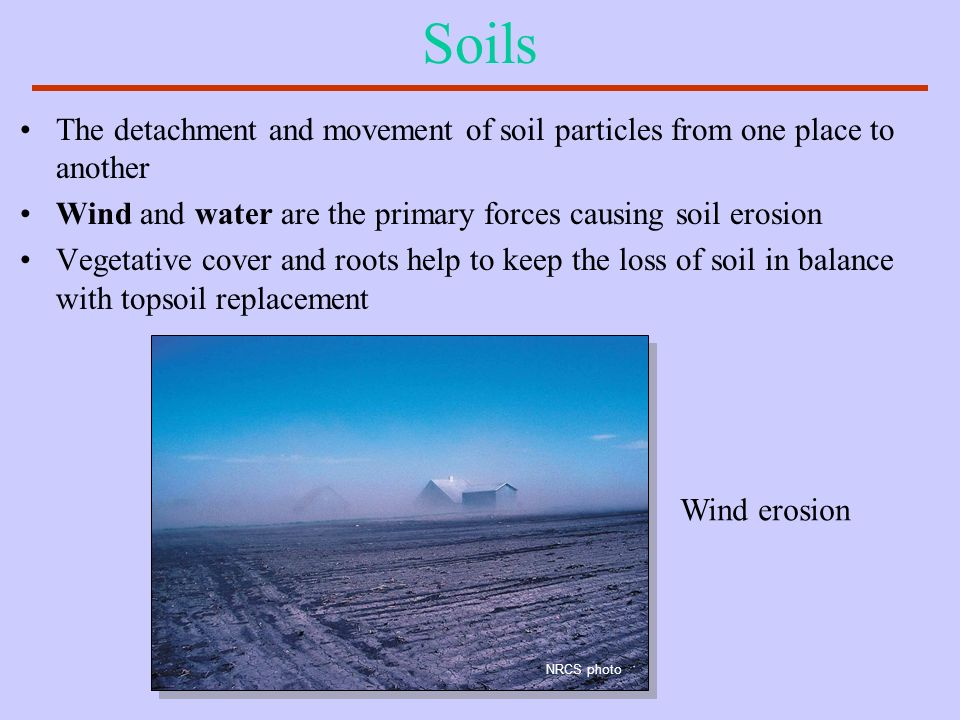 Soils The detachment and movement of soil particles from one place to another. Wind and water are the primary forces causing soil erosion.