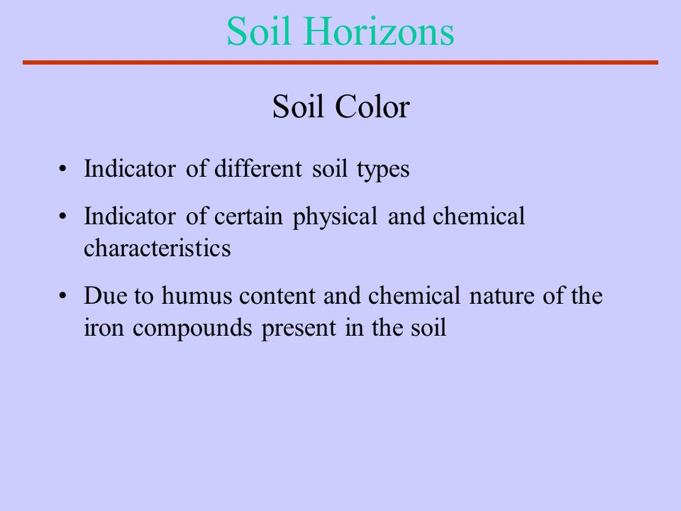 Soil Horizons Soil Color Indicator of different soil types