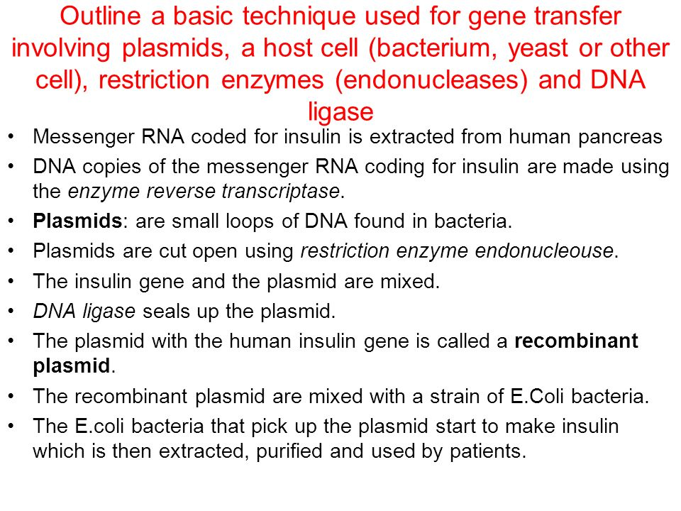 an outline of the basic technique used for gene transfer involving plasmids 44 genetic engineering and biotechnology 441 outline the use of polymerase chain 448 outline a basic technique used for gene transfer involving.
