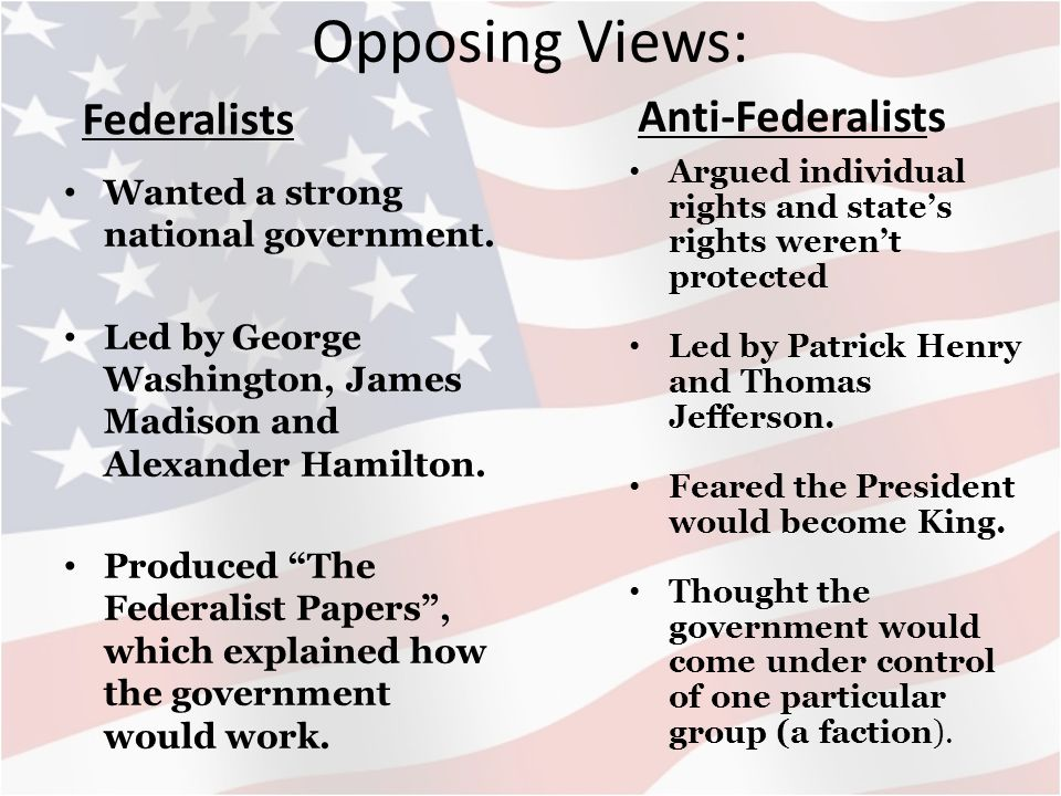 Federalists Vs Anti Federalists Human Nature