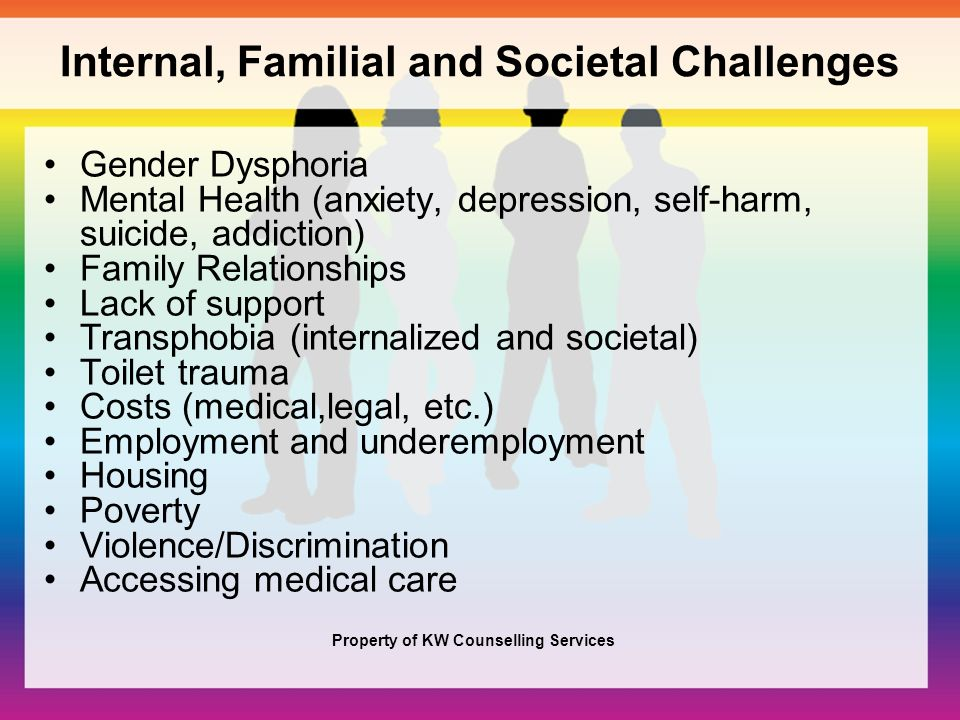 30 Internal, Familial and Societal Challenges Gender Dysphoria Mental Health  ...