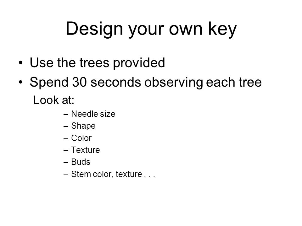 Design your own key Use the trees provided
