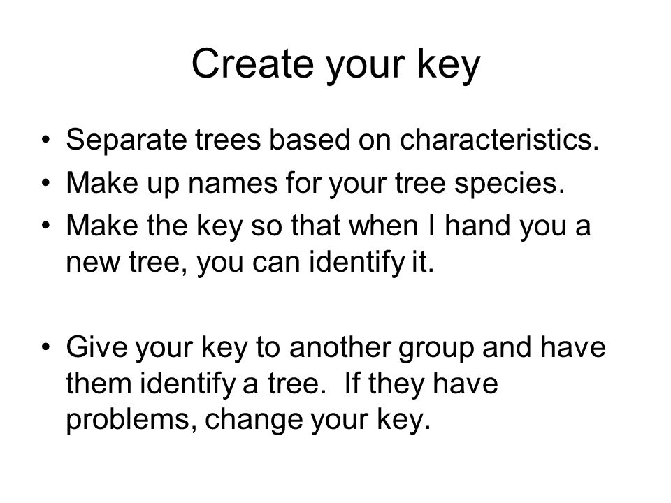 Create your key Separate trees based on characteristics.