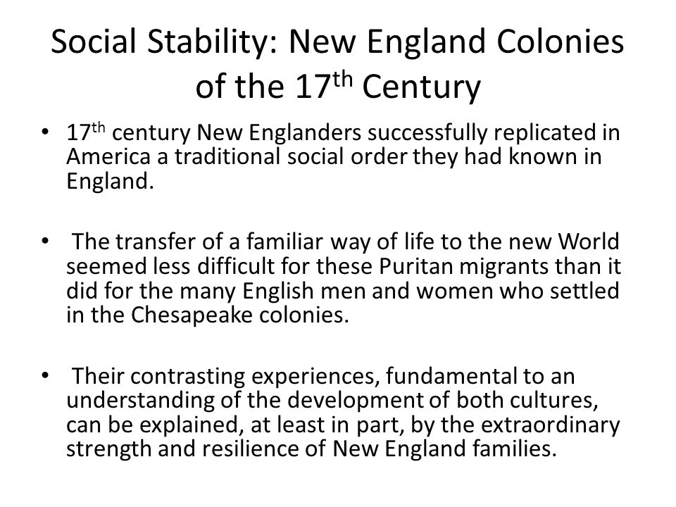 an explanation of the dissimilarities of the colonies in chesapeake and new england Full text of early american churches see other formats.