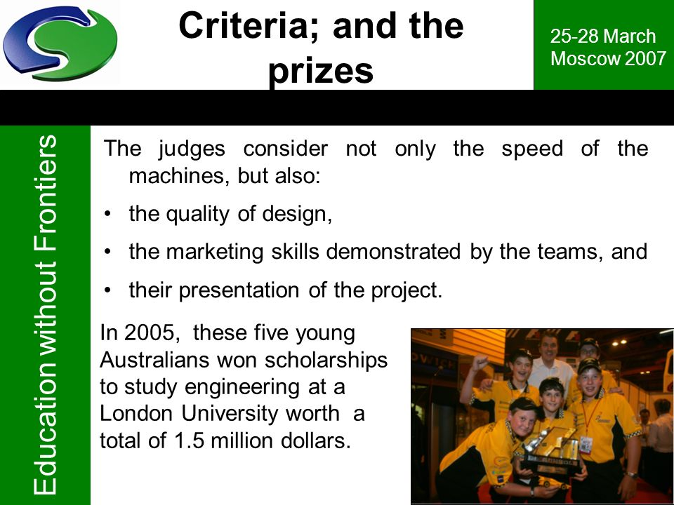 Criteria; and the prizes