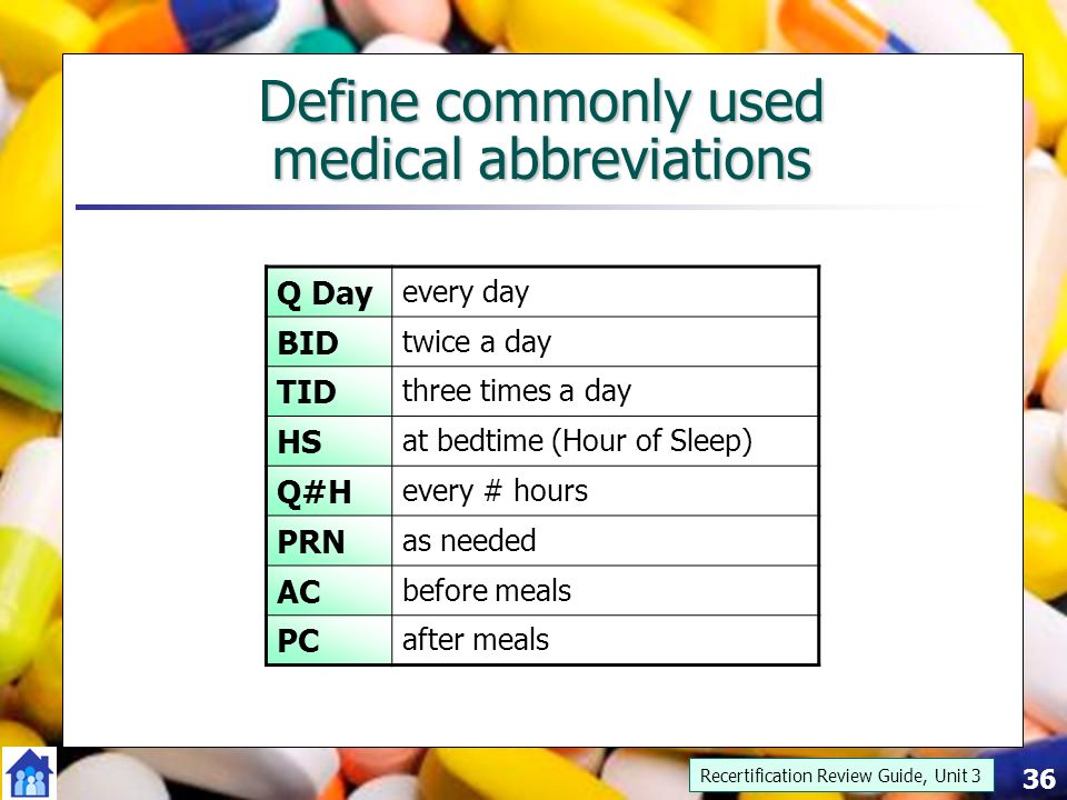 Medical abbreviation for medication - Maple suyrup diet