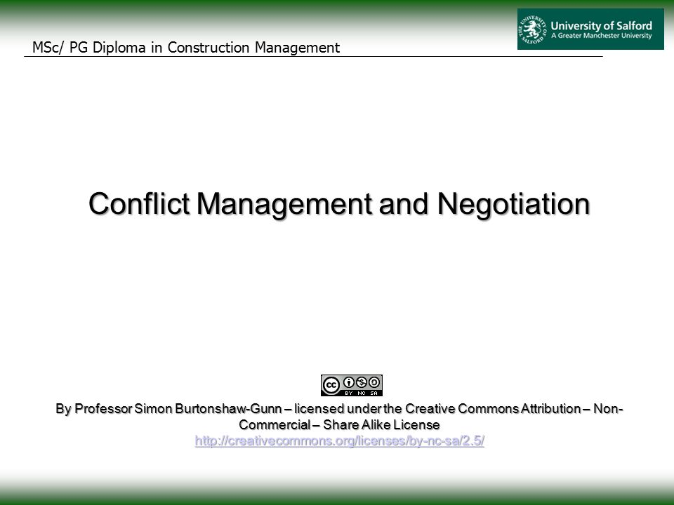 conflict management and negotiation questionnaire 5 The best way to address a conflict in its early stages is through negotiation between the participants  5 strategies for dealing with conflict 1) compete or fight this is the classic win/lose situation, where the strength and power of one person wins the conflict  conflict resolution and mediation.