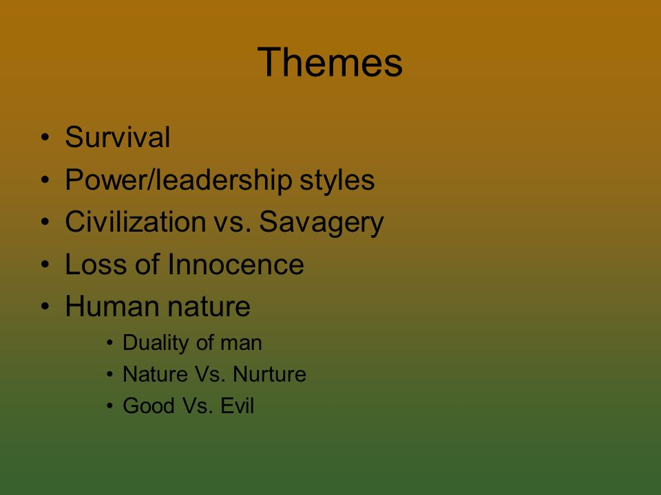 Lord of the flies civilization vs savagery examples