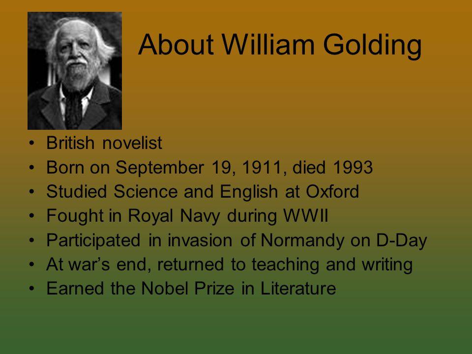 a biography of william golding the english novelist In lord of the flies , william golding gives us a glimpse of the savagery that lord of the flies william golding biography william golding's novels.