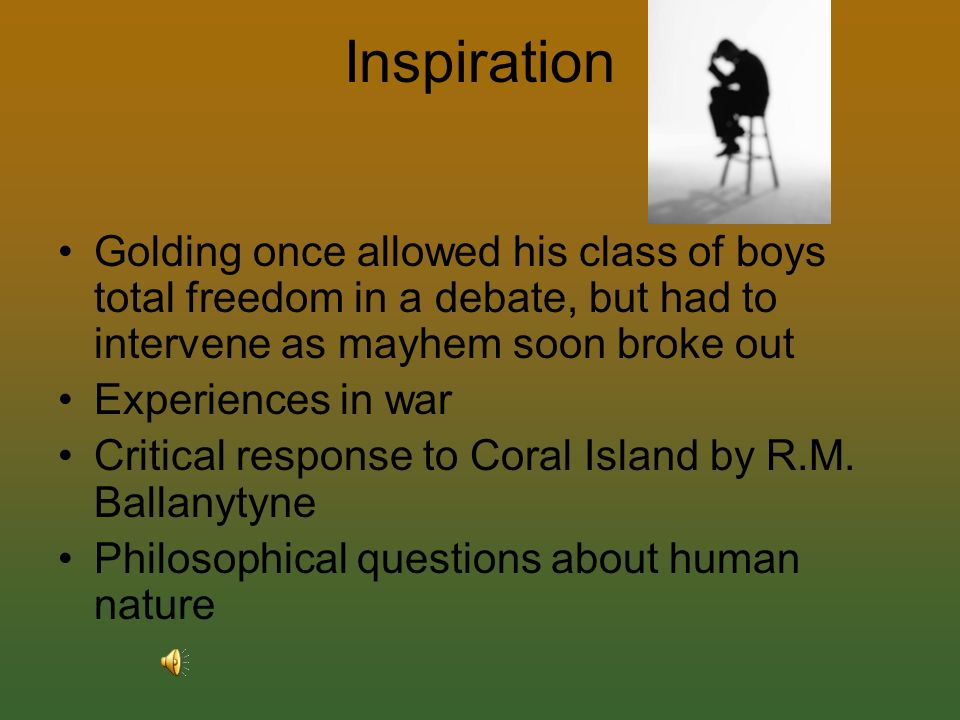 william goldings perspective on human nature Get an answer for 'what does william golding reveal about human nature in lord of the flies' and find homework help for other lord of the flies questions at enotes.